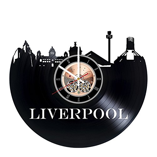 Liverpool Vinyl Record Wall Clock - Home Room Wall Decor - Gift Ideas for Friends, Parents - Skyline Unique Art Design