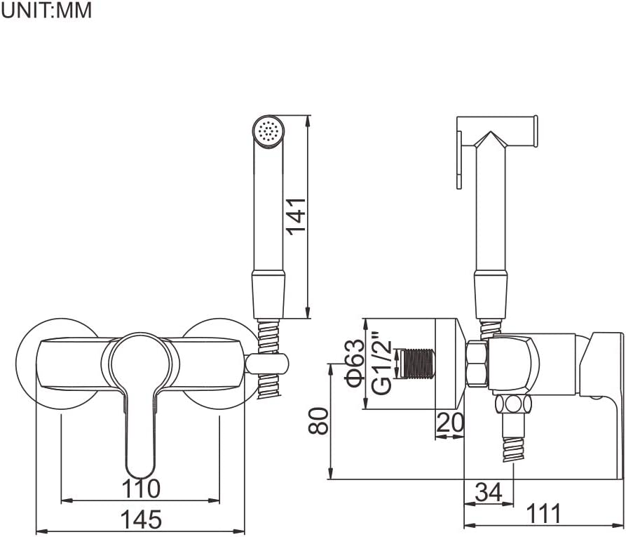 IBERGRIF M22012 WC Set avec Flexible Douchette Eau Chaude et Froide Chrom/é Support Argent