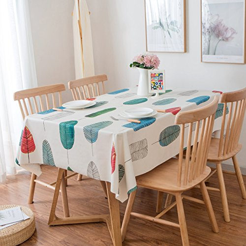 LEEVAN Heavy Weight Vinyl Rectangle Table Cover Wipe Clean PVC Tablecloth Oil-Proof/Waterproof Stain-Resistant/Mildew-Proof (54'' x 72''-140x185 cm, Colorful Leaves)