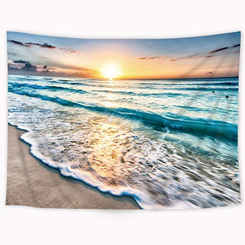 Riyidecor Wowzone Ocean Sunrise Tapestry Natural Coastal Scene 60x80 Inch Waves Beach Themed Tapestry Skyline Green Water Tapestry Wall Hanging Tapestry Art Decor Fabric Home Dorm for Living Room