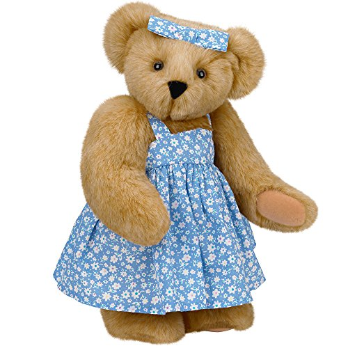Vermont Teddy Bear - Mother Teddy Bear with Blue Dress, 15 inches, Brown - Made in - Ideas Day Valentinea