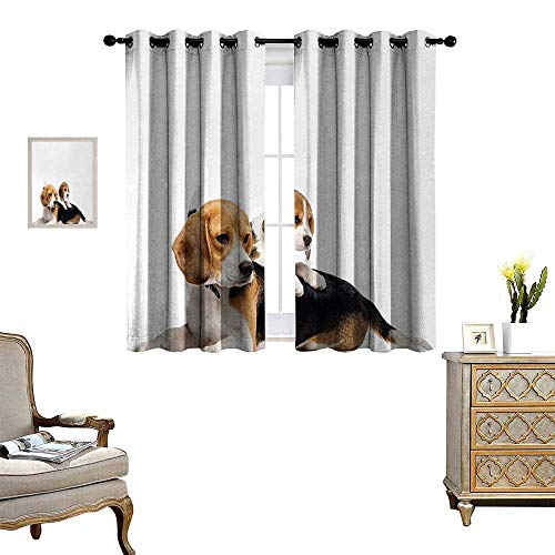 Anyangeight Beagle Window Curtain Fabric Cute Family with Mother and Baby Puppy Domestic Fur Animal Photography Drapes for Living Room W55 x L72 Pale Caramel White Black