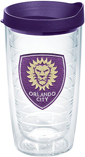 Tervis 1168531 MLS - Orlando City Soccer Club Logo Tumbler with Emblem and Royal Purple Lid 16oz, Clear