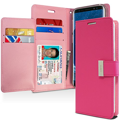 Galaxy S9 Case, [Drop Protection] GOOSPERY Rich Diary [Wallet Case] Premium Soft Synthetic Leather Case [ID/Card & Cash Slot] Cover for Samsung Galaxy S9 (Hot Pink) S9-RIC-HPNK