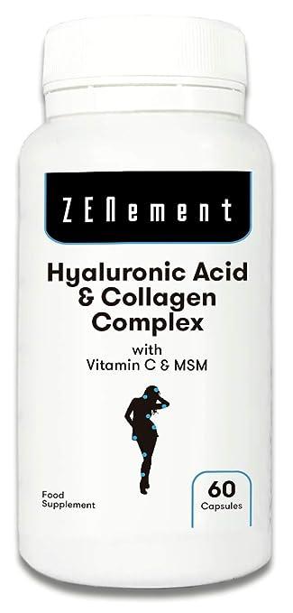 Ácido Hialurónico y Colágeno Complex con MSM y Vitamina C, 60 cápsulas, para combatir los efectos de la edad y tener una piel y articulaciones ...