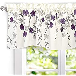 "DriftAway Isabella Faux Silk Embroidered Kitchen Swag Valance, Embroidered Crafted Flower, Single, 60""x18""+1.5"" Header(Ivory/Purple)"