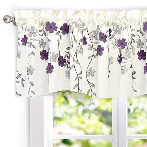 """(DriftAway Isabella Faux Silk Embroidered Kitchen Swag Valance, Embroidered Crafted Flower, Single, 60""""x18""""+1.5"""