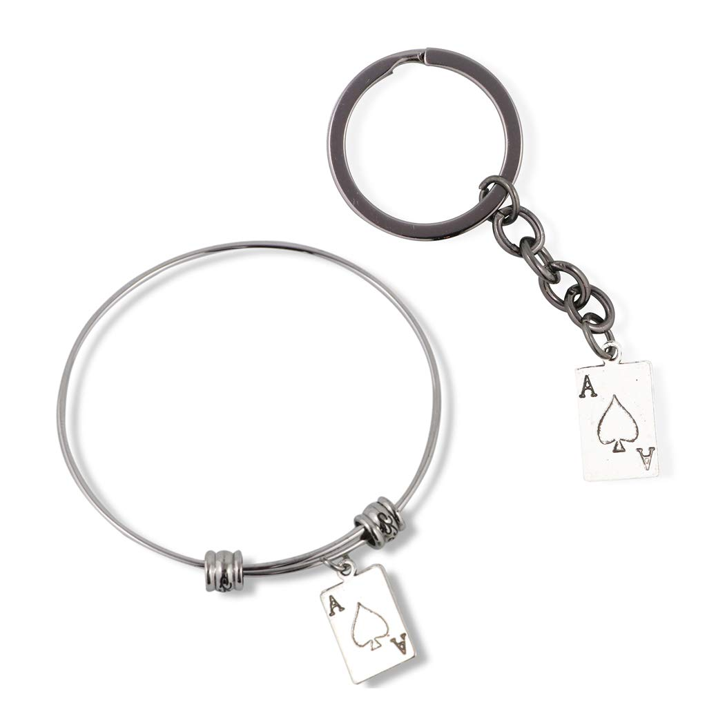 EPJ Ace of Spades Bracelet Bangled Bundled with Keychain Gift for Kids Women Men Girls and Boys Jewelry Playing Card Poker and Game Accessories