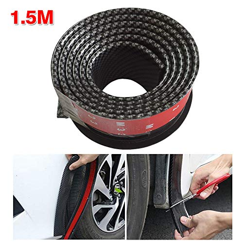 ZXMOTO Car Trucks Wheel Fender Mudguard Extension Flares Protector Rubber Carbon Fiber Moulding Strip Trim 2pcs 4.9ft