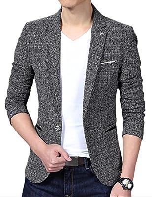 Alion Men's Classic Fit Notched Lapel One Button Tweed Blazer Jacket