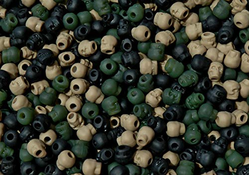 OutletBestSelling Beadwork Art Crafts Camo Mix Skull Shaped Pony Beads Halloween Goth Paracord Jewelry School Crafts