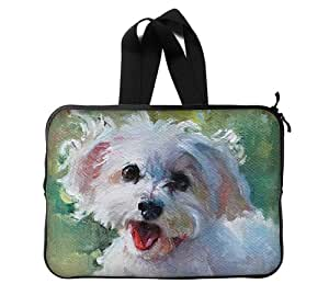 """Colorful Dog Paintings Custom Bag Waterproof Laptop Sleeve Bag advanced design suitable for all computers 13"""" Computer Case Art Painting Twin Sides"""