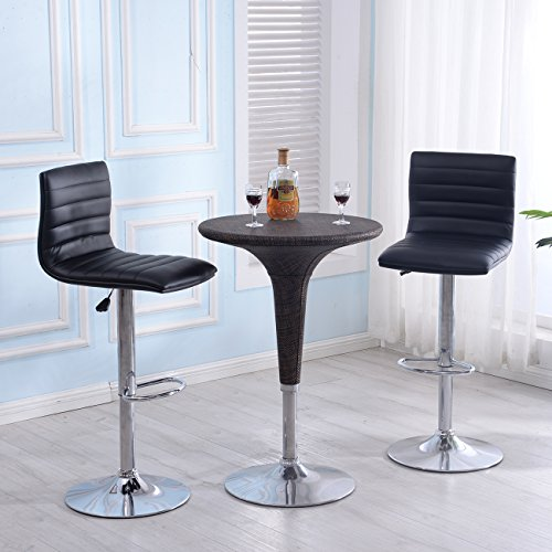 Belleze Set of 2 PU Leather Hydraulic Swivel Gas Lift Height Adjustable Bar Stool, Black (Dining Room Chairs Sears)