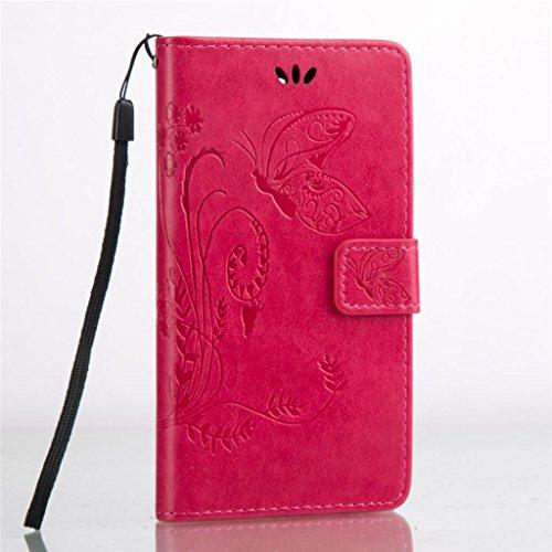 Erdong® Magnético Folio Flip Caso Con pata de cabra titular de la tarjeta Para Huawei Y5 II & Y5 2 5.0, Elegant Simple Book-style [Rose flor de mariposa] patrón de impresión cuero del soporte Folio P