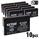 Carpenter Watchman 713524 6V 7Ah / REAL 7.0 Amp Battery AGM / SLA Sealed Lead Acid Genuine KEYKO Replacement - F1 Terminal - 10 Pack