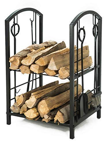 LITHER Medium Size Fireplace Log Rack with 4 Bin Holder for Fireplace Tool Set Brush Shovel Poker Tongs, 28(H) x18(L) x15(W) inch Autumn Leaf Fireplace Screen