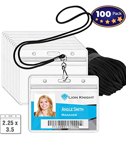 Premium Horizontal ID Tag Nametag Name Badge Holders with Woven Lanyard (Satin Black 100 Pack) - Plastic Name Badge Holders with Lanyard - Business Events Favors-by IRISING