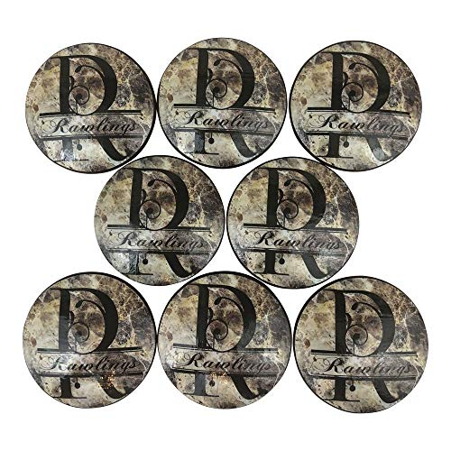 Set of 8 Personalized Your Name Split Monogram Brown Granite Print Oversized Wood Cabinet Knobs