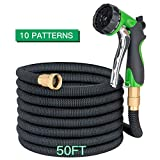 Apas 50ft Expandable Garden Hose with 10 Pattern Nozzle Expanding Garden House with Solid Brass Connector Extra Strength Textile 10 Function Spray Nozzle
