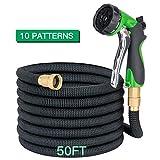 Apas 50ft Expandable Garden Hose - 10 Pattern Spray Nozzle, Expanding...