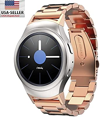 Samsung Gear S2 Watch Band with connector adapter, BESTeck Stainless Steel Metal 3 Beads Replacement Smart Watch Band Bracelet for Samsung S2 SM-R720 ...
