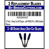 3 Pack - Deep Cut 60 Degree Angle Replacement Cutting Blades for Craft Cutting Machines, Silhouette, Cameo, Graphtec Craft ROBO Pro, CB09 blades