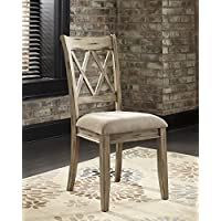 Mestler Antique White Color Dining Upholstered Side Chair ,Set of 2