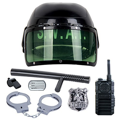 Role Play, WOLFBUSH 7Pcs Kid's Police Motorcycle Cop Helmet and Officer Accessory Role Play Costume (Costume Role Playset)