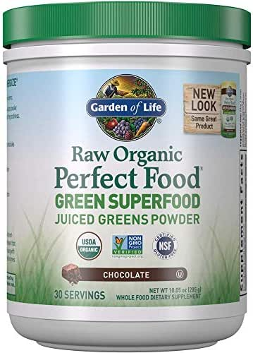 Garden of Life Raw Organic Perfect Food Green Superfood Juiced Greens Powder - Chocolate, 30 Servings (Packaging May Vary) - Non-GMO, Gluten Free, Vegan Whole Food Dietary Supplement, Plus Probiotics