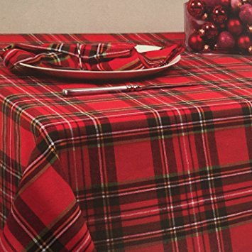 Rt E84n812 Bardwil Linens Timely Tartan Red Christmas SET 84 X 60u0026quot;  Tablecloth 8