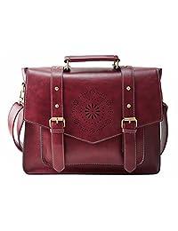 ECOSUSI Women PU Leather Messenger Bag Flapover Briefcase business Bag School Satchel shoulder Bag Fit up to 14.7 Inch Laptop Tablet