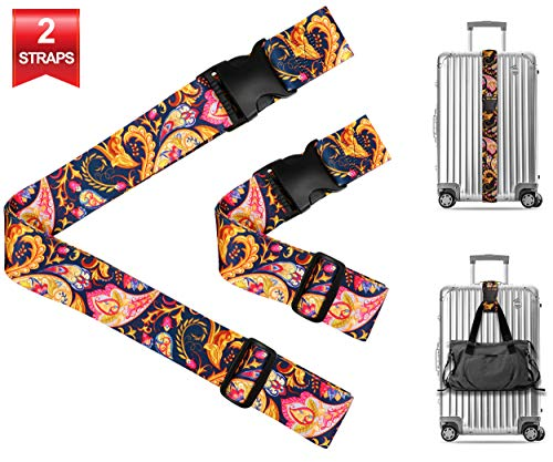Vintage Paisley Travel Luggage Strap Suitcase Security Belt. Heavy Duty & Adjustable. Must Have Travel Accessories. TSA Compliant. 1 Luggage Strap & 1 Add A Bag Strap. 2-Piece ()