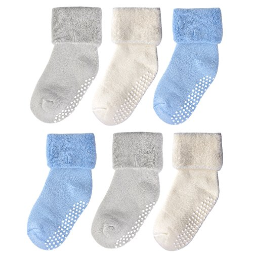 Epeius Baby Boys' Non-Skid Turn Cuff Socks Infants Super Soft Terry Cotton Booties for 6-18 Months Natural White/Grey/Blue (Pack of 6)
