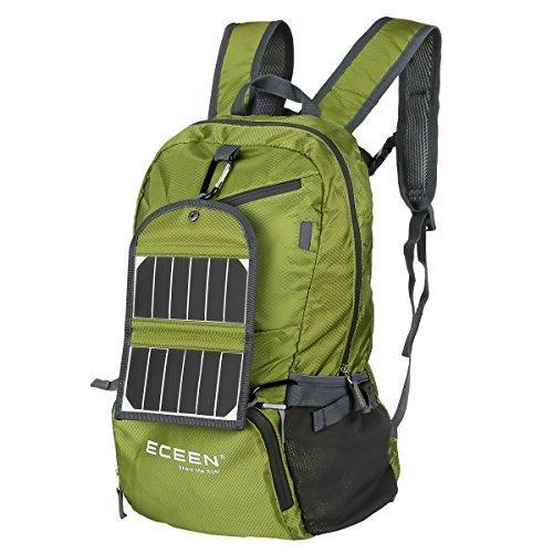 eceen Senderismo Daypack con cargador solar + 2000mAh Batería, 35L mochila resistente al agua Camping al aire última intervensión Viajes Ciclismo Escuela Viaje Carry On Bag Pack, Rojo