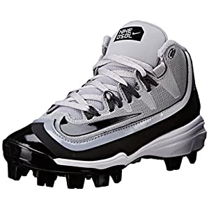 NIKE Boy's Huarache 2KFilth Pro (GS) Baseball Cleat Grey/Anthracite/White/Black Size 4.5 M US