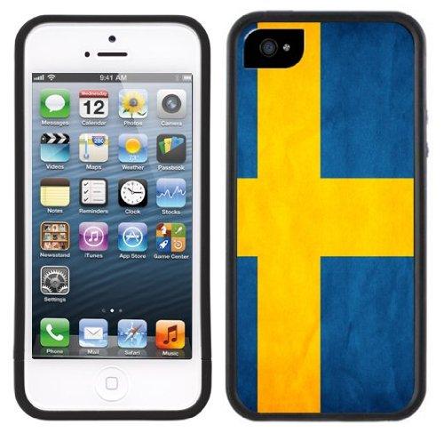 Schweden Flagge | Handgefertigt | iPhone 5 5s | Schwarze Hülle