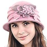 F&N STORY Women's Elegant Flower Wool Cloche Bucket Ridgy Bowler Hat 09-co20 (Pink)