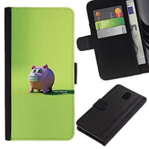 YiPhone /// Tirón de la caja Cartera de cuero con ranuras para tarjetas - Conejillo asustado - Samsung Galaxy Note 3 III