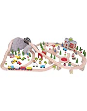 Bigjigs Rail Wooden Mountain Railway Set - 112 Play Pieces