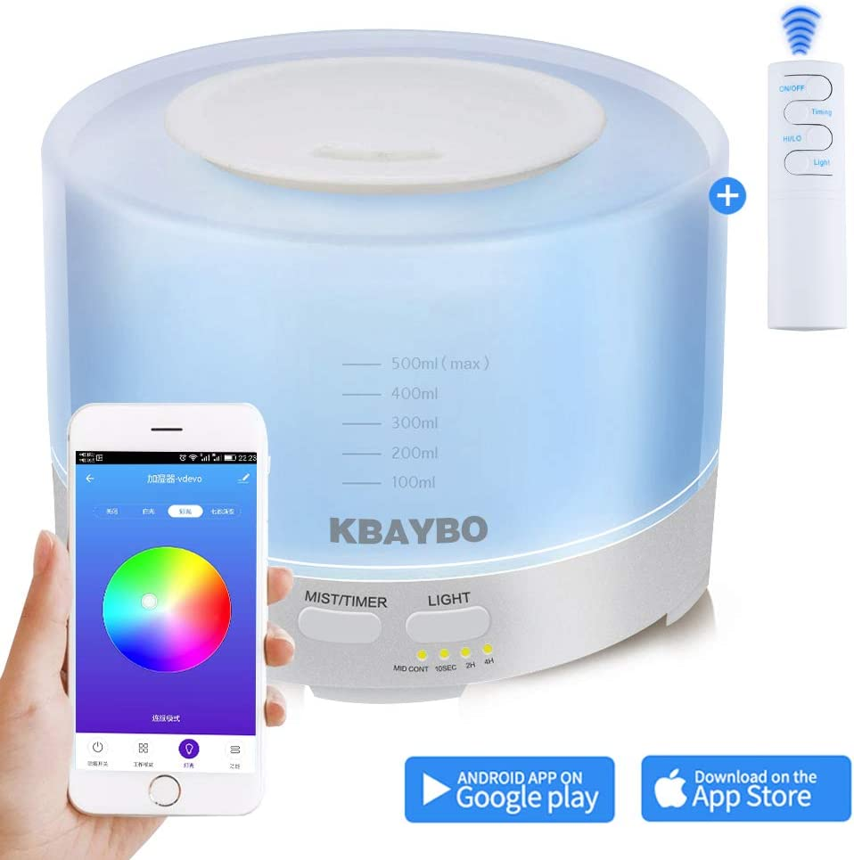 NEWKBO 500ml Smart Aroma Essential Oil Diffuser APPWiFi Remote Control Humidifier Air Purifier 7 Changeable Colored LED Lights,Timer Settings, Ultra