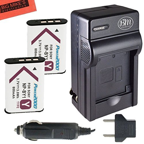 2-Pack of NP-BY1 Batteries and Battery Charger for Sony HDR-