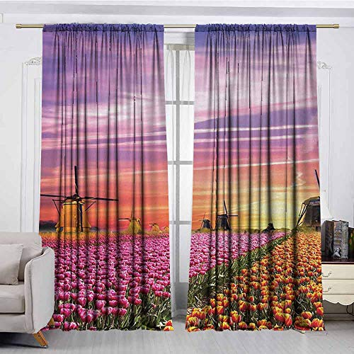 (XXANS Doorway Curtain,Nature,Simple Stylish,W84x84L Inches,Orange Pink Purple)
