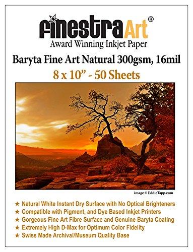 Sheets 50 300gsm (8X10 Fine Art Fibre Baryta Natural Inkjet Paper 300gsm 50 Sheets)