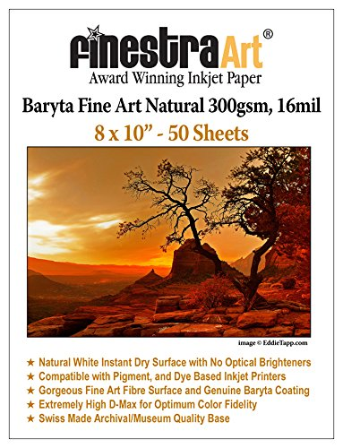 8X10 Fine Art Fibre Baryta Natural Inkjet Paper 300gsm 50 Sheets