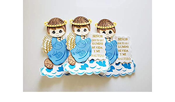 10pc Mi Comunion Angel Boy Girl foam decor Baptism Sign Recuerdo para Bautizo Centerpiece angel con halo EVA Craft Kids Communion