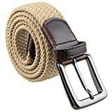 moonsix Braided Stretch Belts for Men,PU Leather Elastic Fabric Woven Webbing Belt,Style 1-Khaki