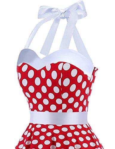 Polka Rockabilly Red Dress Audrey 50s Dot Dots Cocktail Retro Dress White Dresstells® Halter wtfqT