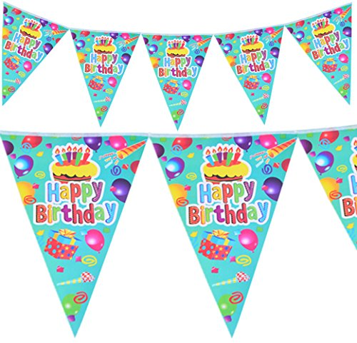 Happy Birthday Party Supplies Banner for Kid's Birthday Party Decoration, Cakes Balloons and Gifts Print Pennant Flag (Happy Halloween Birthday Wishes)