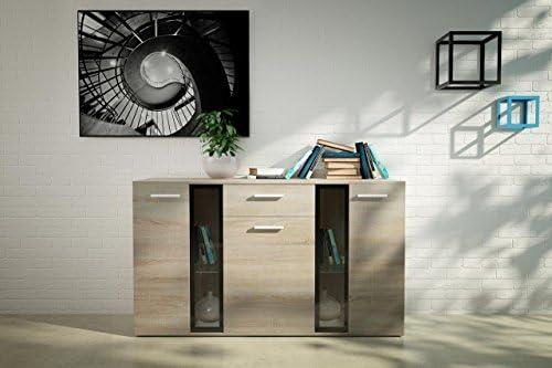 Lana Living Melvyn blanco, roble y marrón unidad de almacenamiento armario aparador, sala de estar muebles: Amazon.es: Hogar