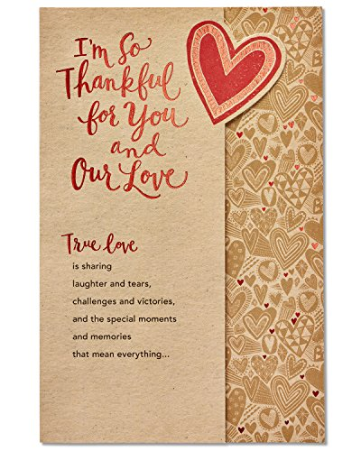 American Greetings Romantic True Love Die-Cut Thank You Greeting Card with Foil (Best Romantic Messages For Husband)